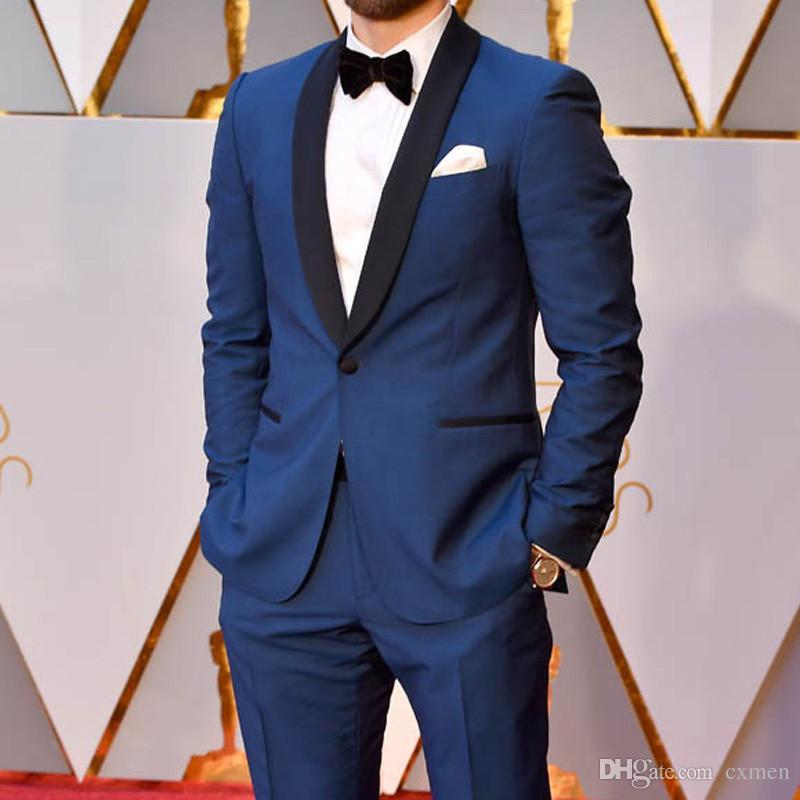 Custom Royal Blue Slim Fit Men Suits 2018 Wedding Black Shawl Lapel Groom Tuxedos 2 Pieces (Jacket+Pants) Groomsman Suits Best Man Blazer