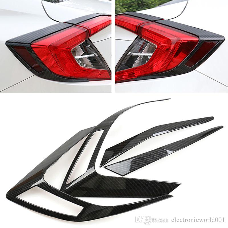 4x ABS Chromed Tail Light Decoration Trim Carbon Fiber For Honda Civic 10th 2016-2018