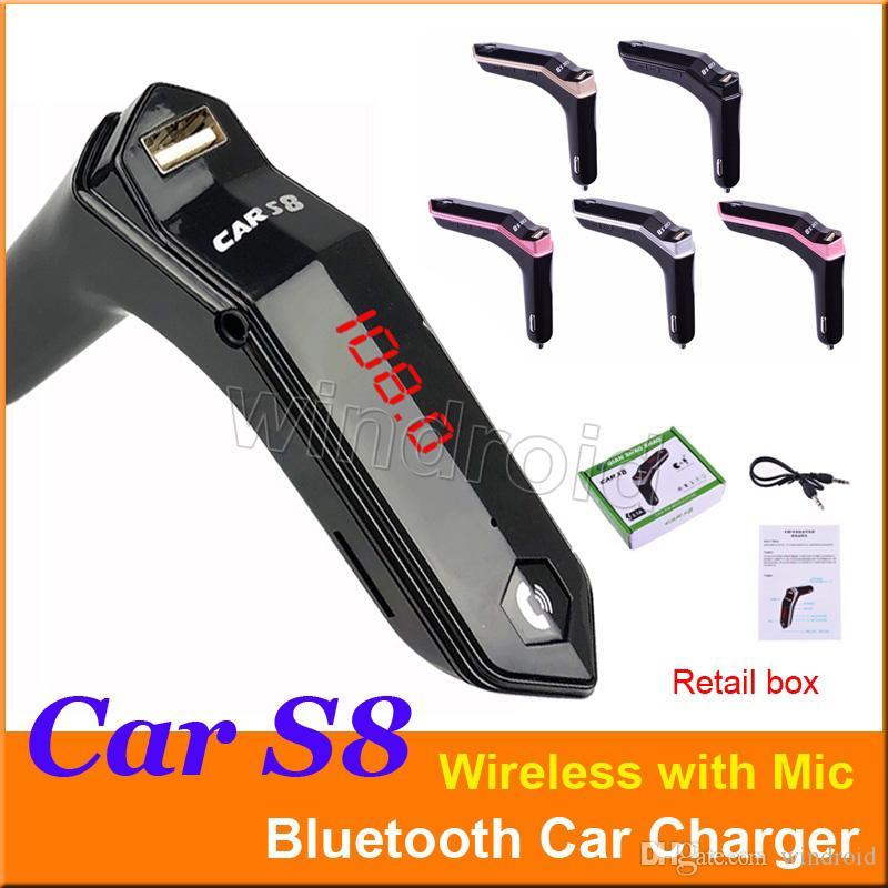 S8 LED Affichage Sans Fil Bluetooth Car Kit Transmetteur FM 3.1A Port USB Chargeur Portable Lecteur MP3 Mains Libres Appel Soutien TF Voiture + Boîte 50