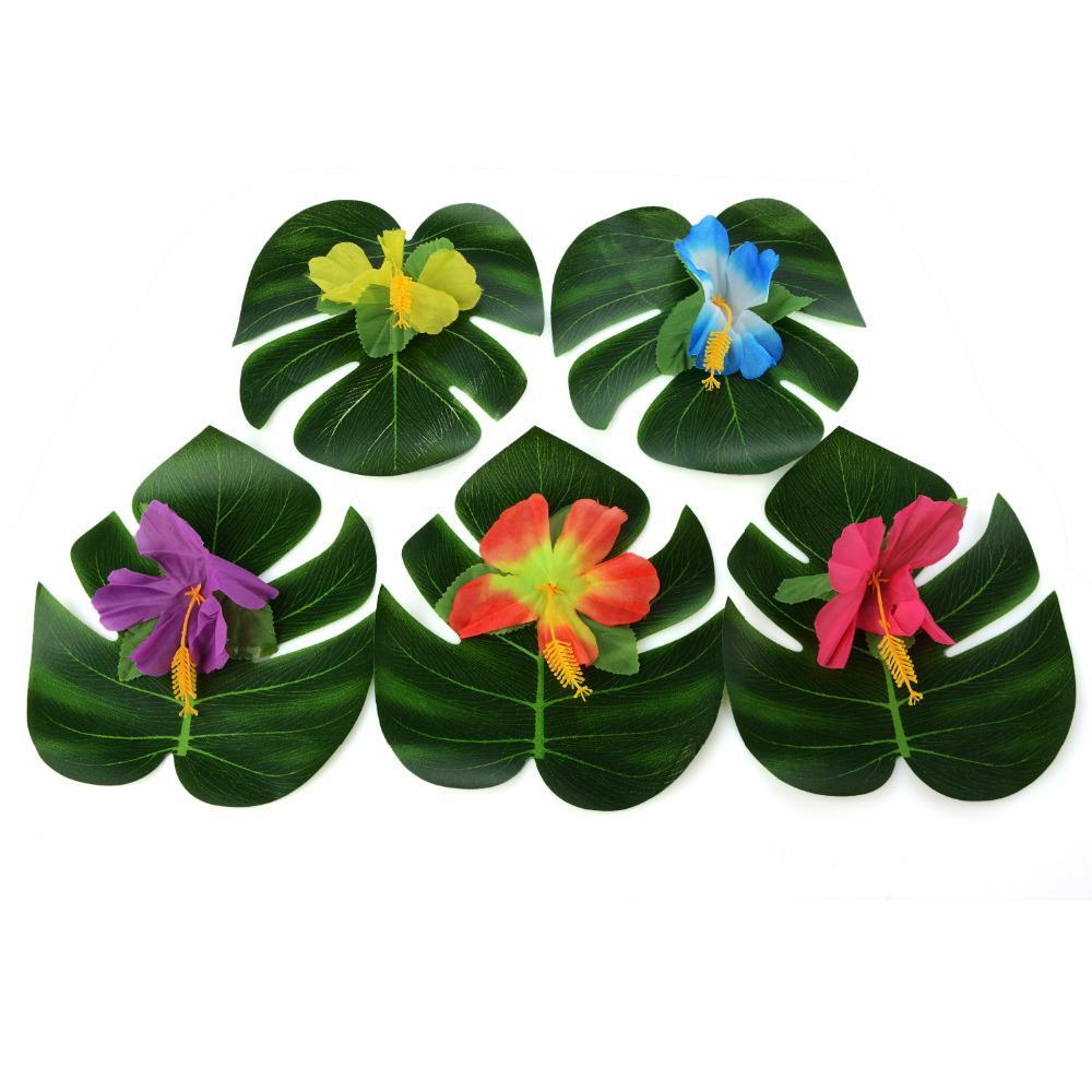 54 шт. партия украшения поставки тропические пальмовые листья гибискус цветы моделирование лист для Гавайских джунглей пляж партии DIY декор