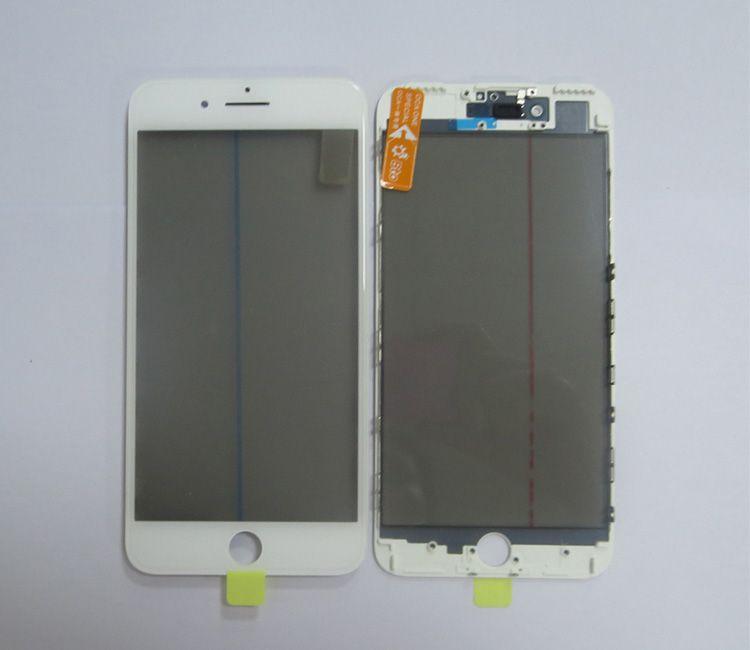 Soğuk Pres Ön Cam Çerçeve + OCA + Polarize Film Ön Meclisi Ile iPhone 7 Için artı SiyahBeyaz kırık ekran parçaları