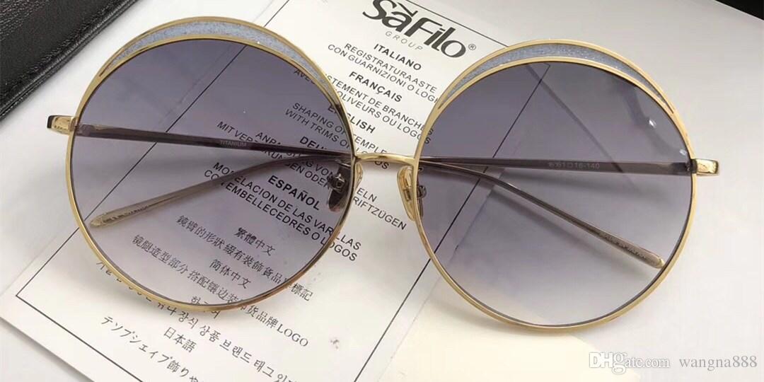 LF 802 Linda Farrow Luxury Fashiong Occhiali da sole con lenti a specchio di rivestimento Protezione UV Designer da donna Vintage Round Frame Top Quality