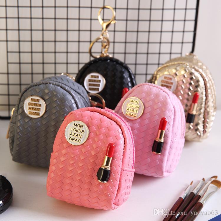 Nuevo modelo de bolso de escuela Monedero de la moda de joyería jewerly lápiz labial creativo bolso dominante PU brillante con llavero