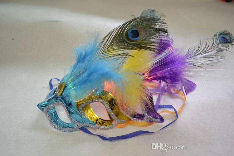 Halloween Makeup Dance Masks Luminescent LED Mask Princess Feather Mask For Masquerade Dance Party Ball Prom Cosplay NightClub Decoration