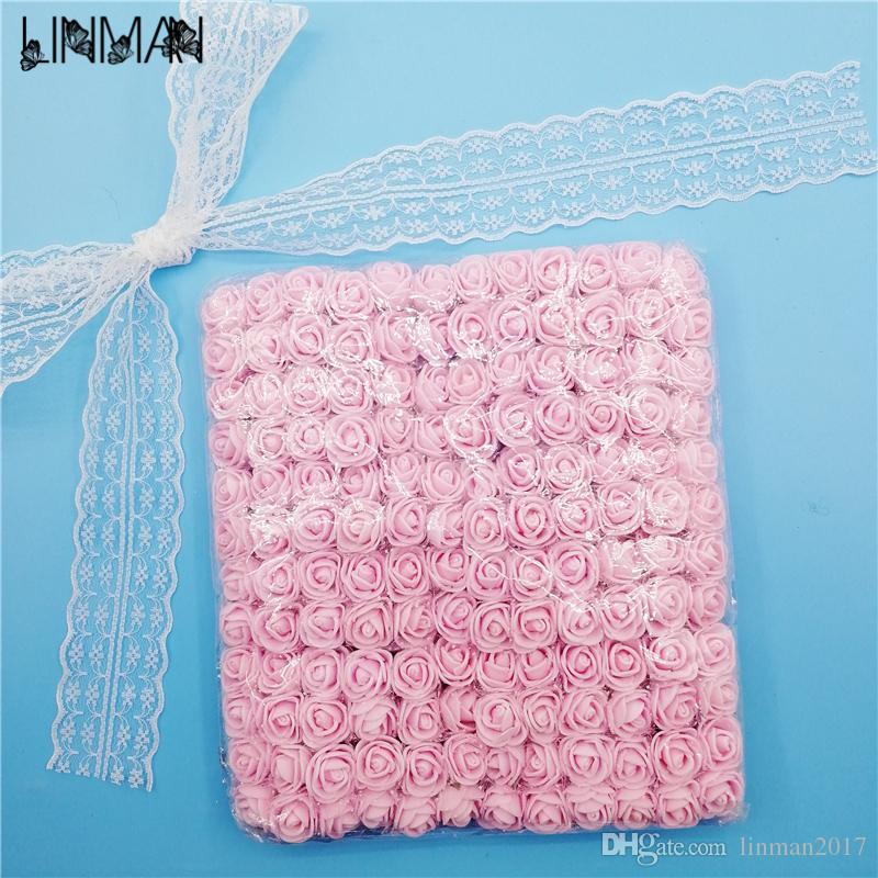 LINMAN 144pcs 2cm Artificial PE pequeñas flores de Rose con estambre vestido de pelo Garland DIY decoración floral de la boda