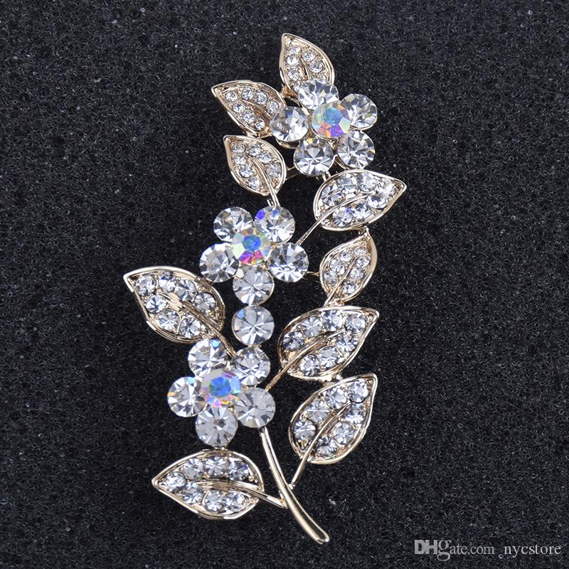 Leaf Flower Large Pins and Brooches for Women Men Suit Dress Crystal Rhinestone Lapel Pin Broches Jewelry