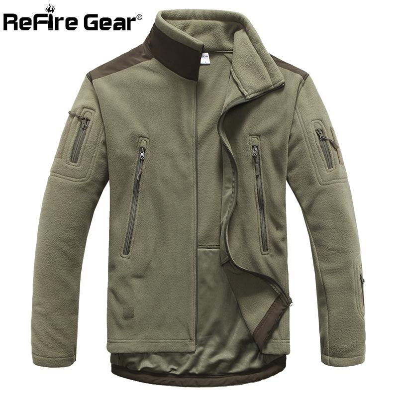 ReFire Gear Winter Warm Military Style Fleece Jacket Men Thicken Polar Outerwear Coat Army Clothing Many Pockets Tactical Jacket Y1892503