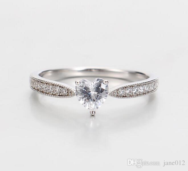 Реальные стерлингового серебра 925 Винтаж в форме сердца розовое золото обручальные кольца простой дизайн боковые камни настройки кольцо на День святого Валентина