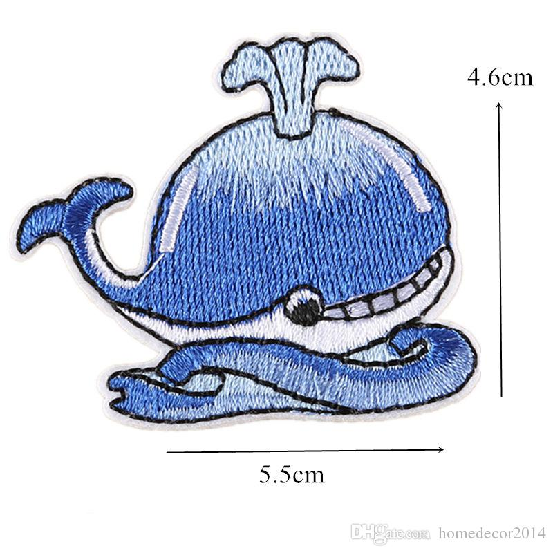 Whale in The Sea Patches Embroidered Applique Iron On Sew On Emblem