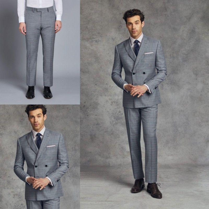 Slim Fit Mens Abiti formali Due pezzi Damier Check smoking doppio petto dello sposo Best Man Suit per matrimoni Business Men Suit (Jacket + Pants)