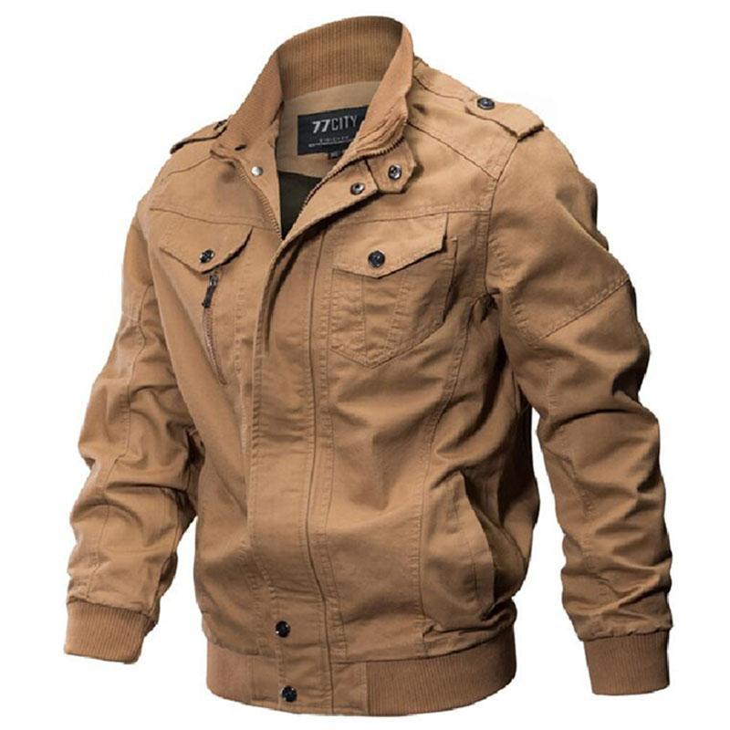 2018 vente chaude Veste d'hiver Homme armée coton solide délavées Vêtements d'extérieur Vestes pilotes Jaqueta masculina Dropshipping