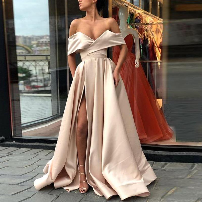 Sexy barato split champanhe vestidos de baile 2018 fora do ombro cetim chão comprimento branco rosa cor-de-rosa blush vestidos de festa de noite simples