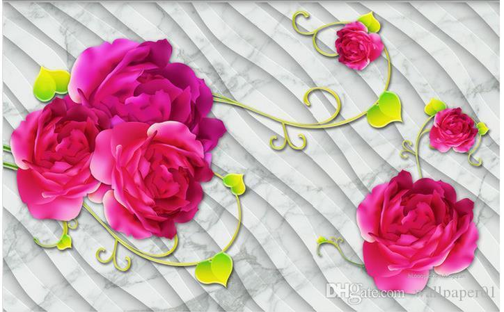 Custom Fototapeta Modern Sztuki Malarstwo Wysokiej Jakości Mural Tapeta Stereo Marmur Róża 3D TV Tło ściany 3d Mural Tapeta