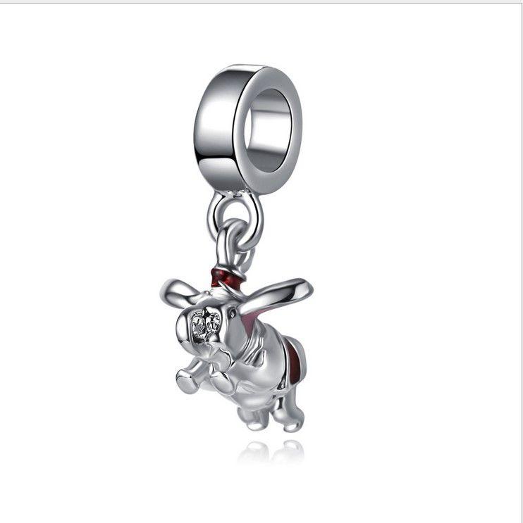 Hecho a mano pulsera de plata Dumbo Dumbo Con Plata 6 encantos 20 Cm