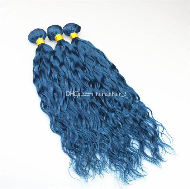 젖은 물결 모양의 파란색 인간의 머리카락은 파란 머리 확장 3pcs / lot 블루 헤어 weaves 물결 번들