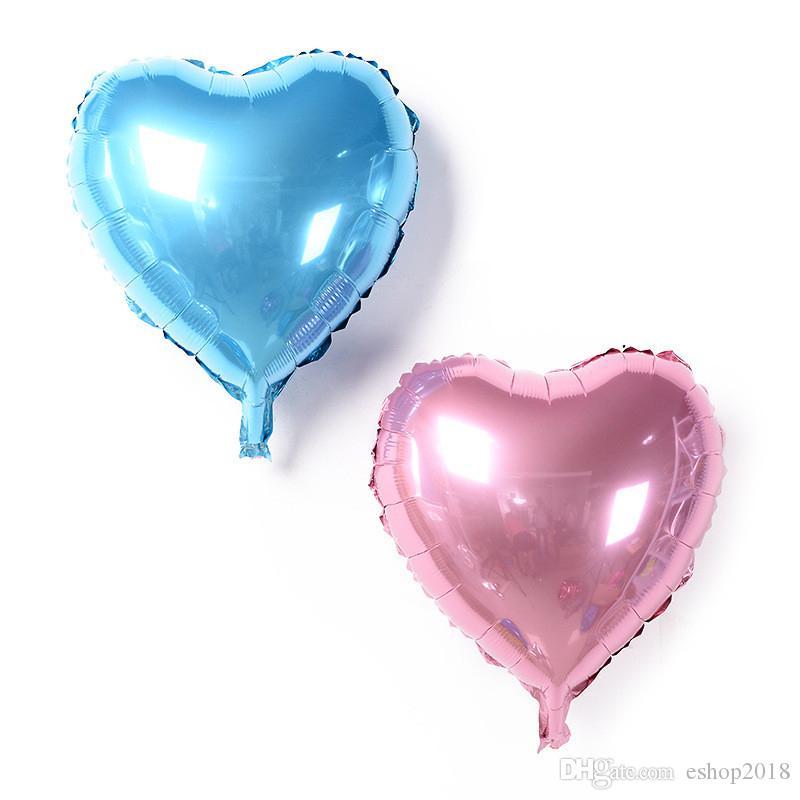 귀여운 18 인치 멀티 컬러 심장 모양 알루미늄 호일 풍선 결혼식 장식 헬륨 풍선 풍선 공기 공 파티 용품을 사랑해