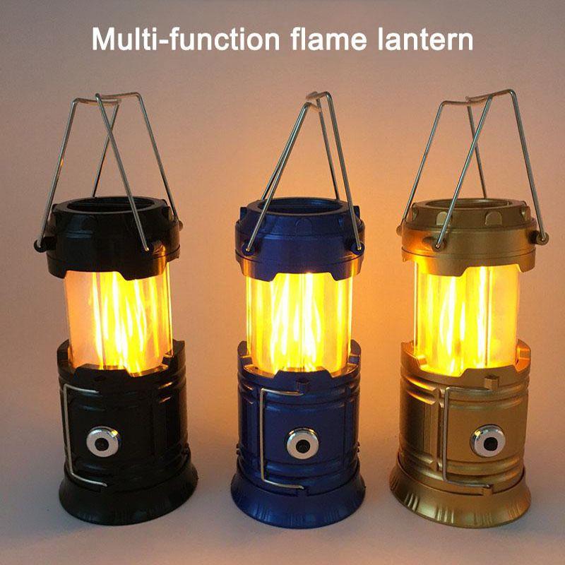 Stretchable 태양 불꽃 조명 램프 다기능 LED 캠핑 라이트 랜턴 비상 천막 라이트 휴대용 핸드 램프