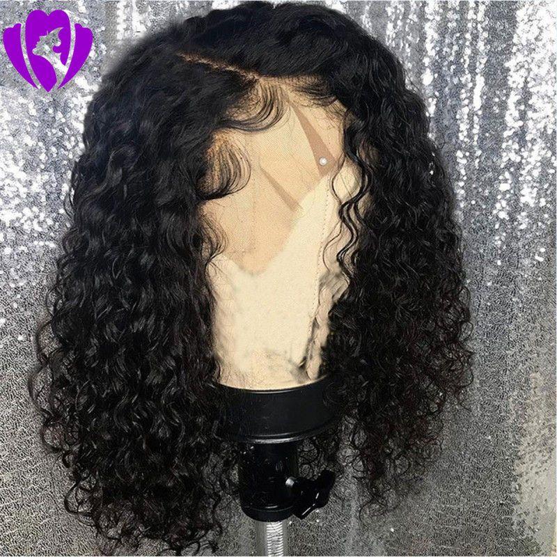 14inches короткие афро кудрявые вьющиеся парики натуральные синтетические парики фронта шнурка для женщин черный / коричневый / бордовый цвет волос термостойкие