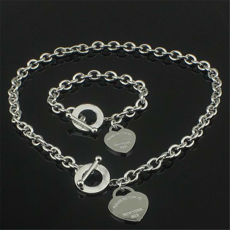 Weihnachtsgeschenk 925 silberne Liebes-Halskette + Armband Set Hochzeit Statement Schmuck Herz-Anhänger-Halsketten-Armband-Sets 2 in 1
