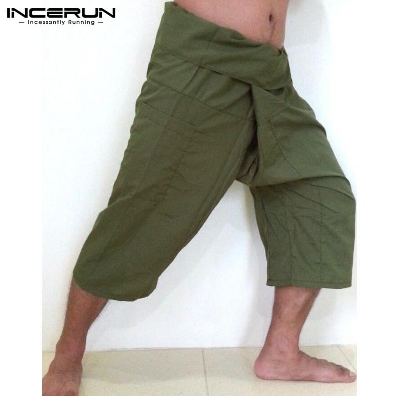 INCERUN 2018 Pantalón ancho para hombre Pantalones Bolsillos Sólido Casual Hombre Mujer Pantalón largo Pantalones Pantalones de pescador tailandés fresco Más el tamaño S-5XL
