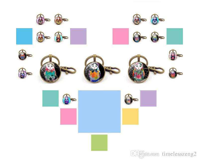 Russian doll key ring Cute little girl picture key chain Time Gem Cabochon glass pendant keychain gift for child