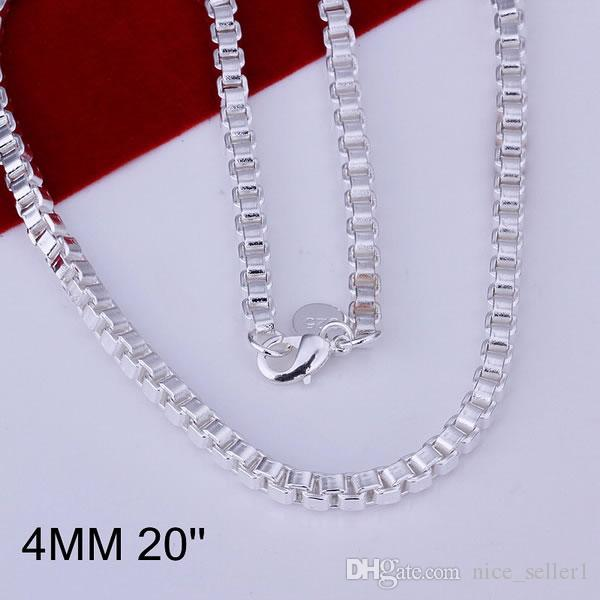 Feine Weihnachten Italien Silber Halskette, Mode Männer Box 4mm Halskette 925 Neue Sterling Schöne Heiße Kette Halskette Link 2021 Stil Frauen Verkauf N16 NTBB