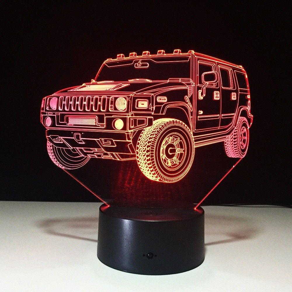 Home Decoration Hummer Novelty 3D Lamp LED Night Light Battery Powered USB Night Lamp Kids Room #R54