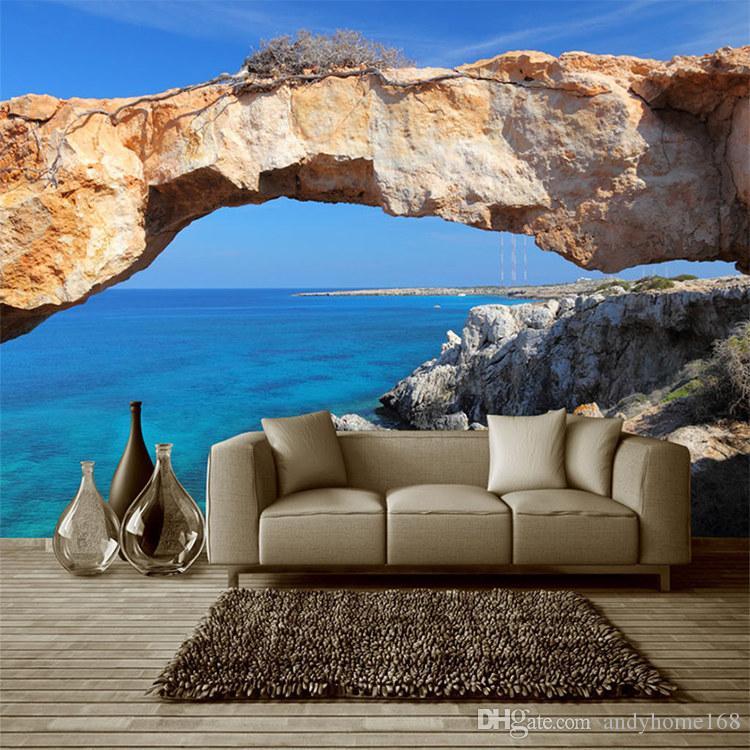 Custom 3D Mural Wallpaper For Wall Landscape Blue Ocean Seascape Photo Wall Cover For Living Room TV Sofa Backdrop Wall Paper
