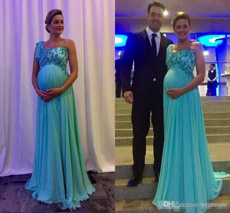 reliable quality search for best official shop 2018 New Maternity Evening Dresses Party Wear One Shoulder Applique Long  Chiffon Prom Gowns For Pregnant Women Evening Gown Dresses Evening  Maternity ...