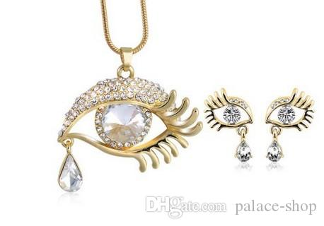 high quality low price wonderful diamond crystal wedding pearl set necklace earings (9.63rtert