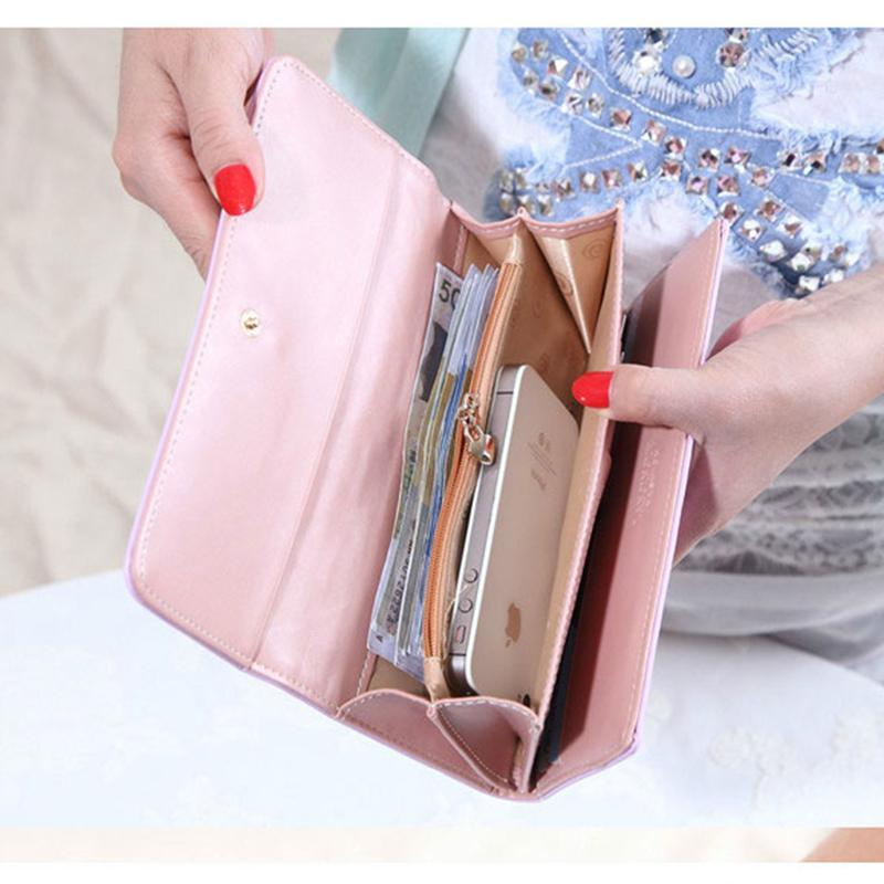 Hot sale new fashion high capacity women wallets metal crown lady long clutch wallet female PU leather flip up card holder purse