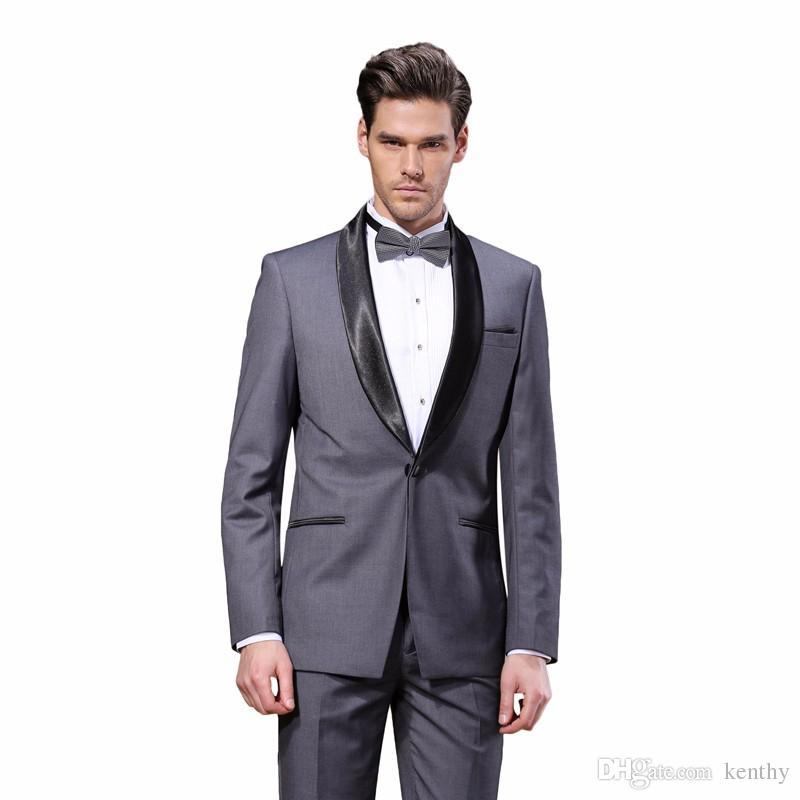 2018 فاخر رجل الدعاوى مخصص اللباس الرسمي شال التلبيب سليم صالح الدعاوى الزفاف العريس البدلات الرسمية wihte أفضل رجل (سترة + بنطلون)