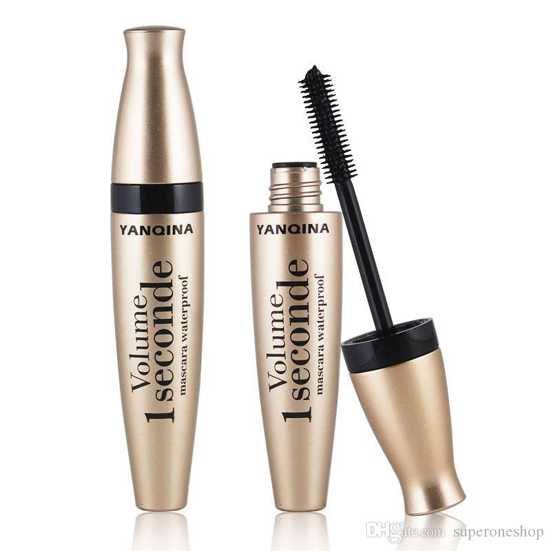 Newest Makeup YANQINA Gold Tube Silicone Brush Head Mascara Thick Waterproof Curling 3d mink eyelashes Mascara make up DHL Free Shipping