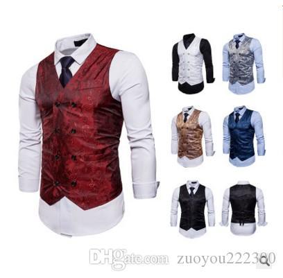 O novo 2018 moda cavalheiro cavalheiro vestido formal casual colete colete impresso M36