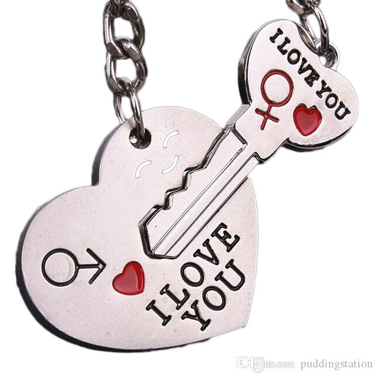 Couple I LOVE YOU Letter Keychain Heart Key Ring Silver Color Lovers Love Key Chain Valentine's Day gift Dropship