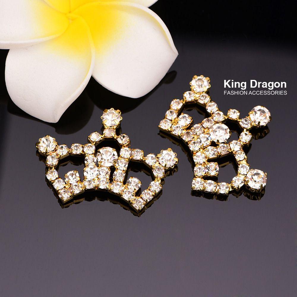 Enfeite De Coroa De Strass ouro Usado Na Decoração Ou Casamento 35 MM 20 pçs / lote Apartamento De Volta KD34