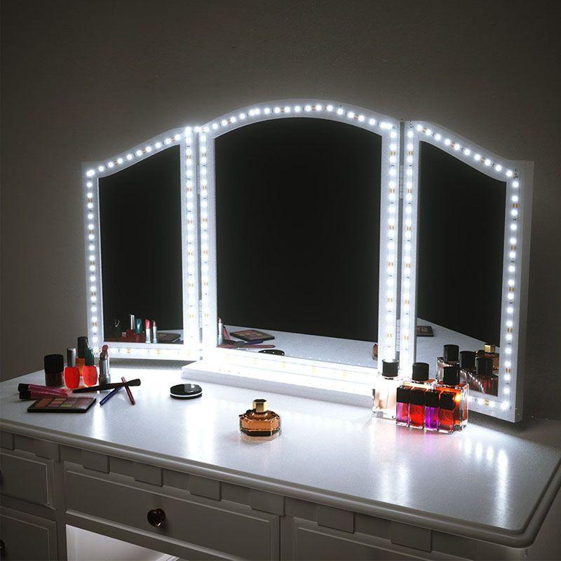 ماكياج الصمام مرآة قطاع الخفيفة 13ft 4M 240LEDs الغرور أضواء مرآة LED قطاع كيت مرآة لطاولة ماكياج مع مجموعة قتامة S الشكل