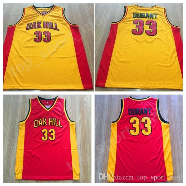 Cheap 33 Kevin Durant Oak Hill Jersey Hombres Amarillo Rojo Color High School College Durant Camisetas de baloncesto Calidad deportiva