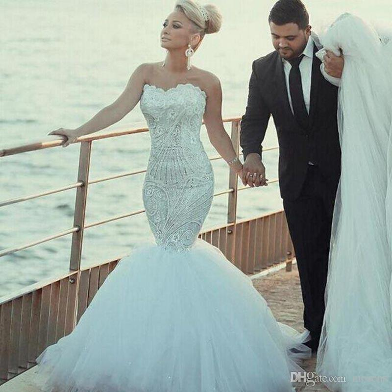 Discount Elegant Lace Wedding Dresses Shinny Beaded Crystal Mermaid ...
