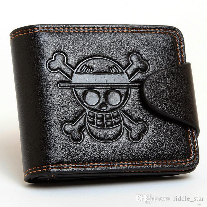 Unisex Japan Anime One Piece Luffy Black Cosplay Embossed Short PU Skull Wallet Purse Boxed Toys Gift