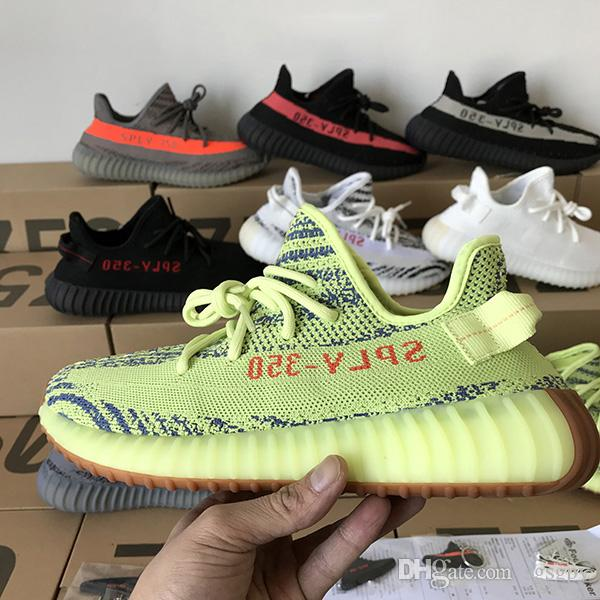 Großhandel Adidas Yeezy BOOST NEUE Beste Qualität 350 V2 Männer Schuhe SPLY 350 Eis Gelb Beluga 2.0 AH2203 F36980 Laufschuhe Turnschuhe Rabatt Frauen
