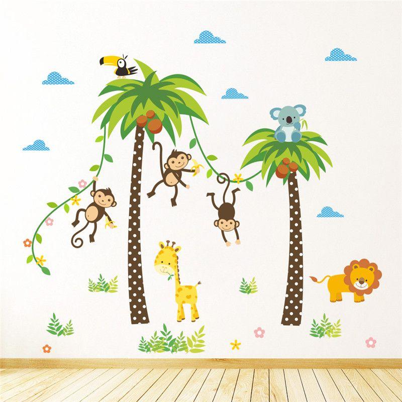حيوانات الغابة البرية الزرافة الأسد القرد النخيل شجرة ملصقات الحائط للأطفال غرفة الأطفال جدار صائق نوم ديكور المشارك جدارية