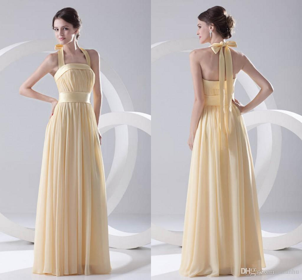 Light Yellow Cheap Chiffon Bridesmaid Dress Halter Neck Backless Floor Length Maid Of Honor Wedding Guest Dresses Cheap Long Zpt251 Bridesmaid Dressing Gowns Cadbury Purple Bridesmaid Dresses From Allanhu 90 72 Dhgate Com