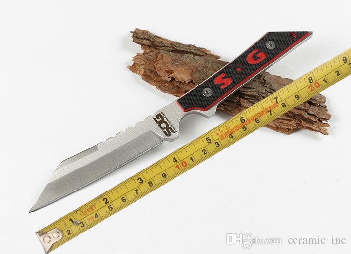 New Sog Straight Knifves 440C Raso Tanto Blade Full Tang G10 Manico a lama fissa Coltello Caccia Strumenti Coltelli da tasca