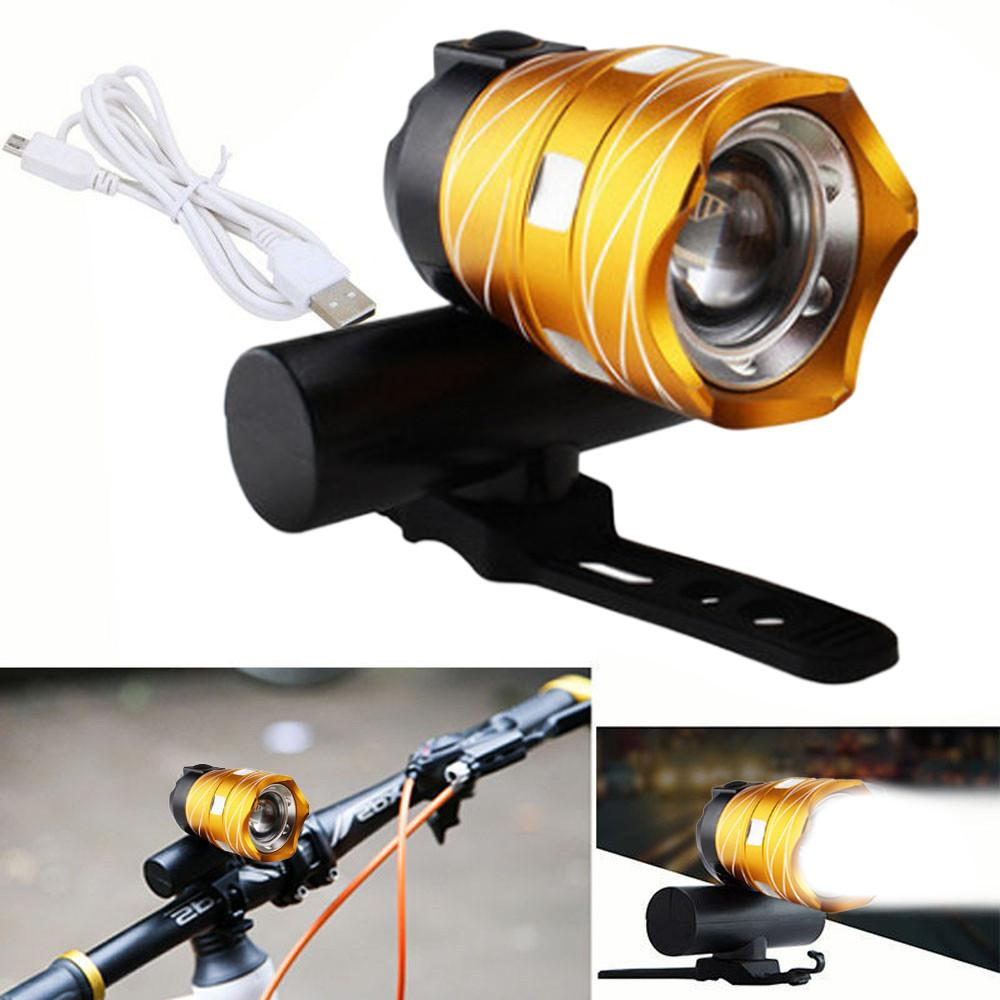 Halloween 2020 Flashlight Head 2020 USB Rechargeable XML T6 LED Bicycle Bike Light Front Cycling