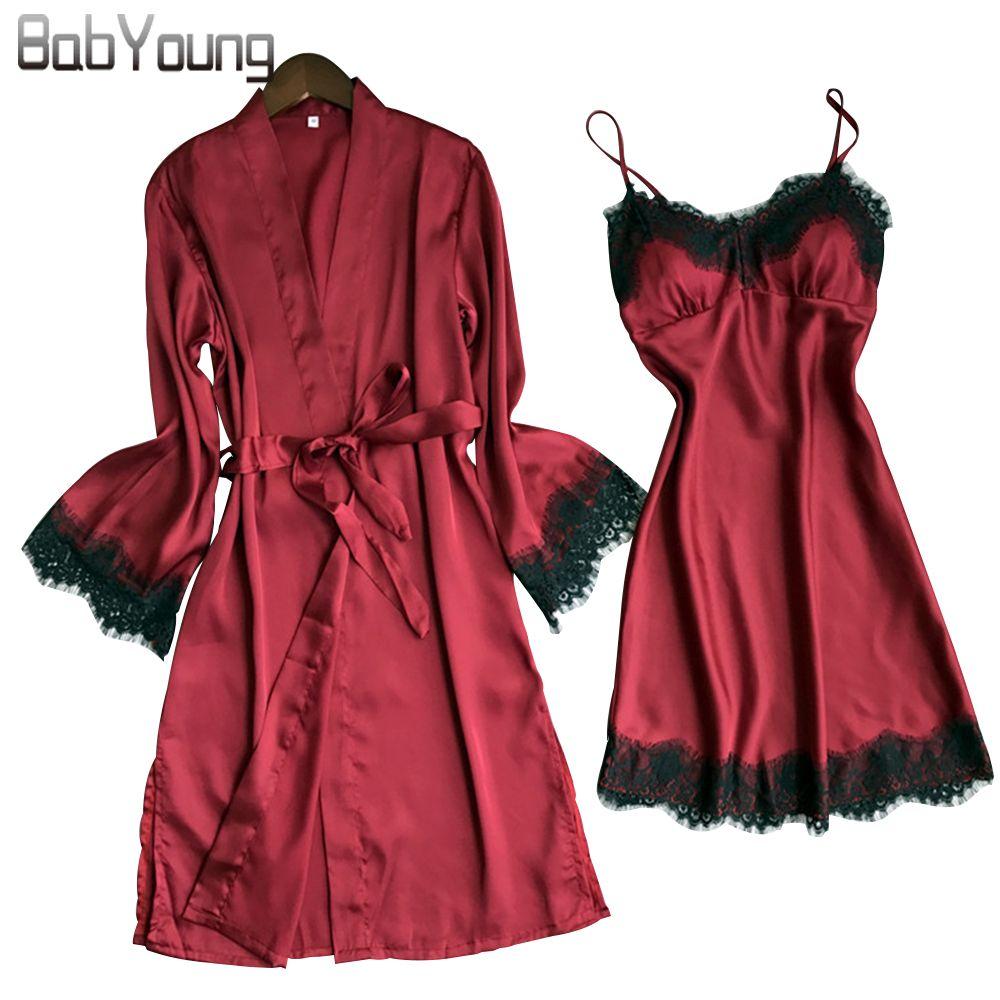 BabYoung Verano Mujeres Seda Robe Pad Pijama de Filete Sexy de Manga Larga Batas Camisola Noche Falda Homewear Con Encaje S1015