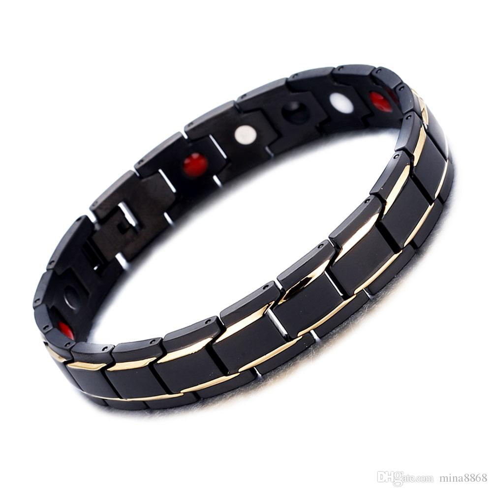 Hot sale Wholsale Sleek 316L Stainless Steel Magnetic Therapy Bracelet Pain Relief for Arthritis and Carpal Tunnel Healthy Alert ID Bracelet