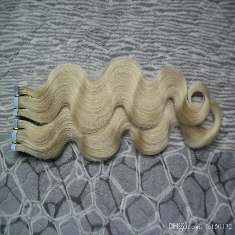 100g(40pcs) 613 Bleach Blonde Tape In Remy Human Hair Double Drawn Remy Body Wave Hair Bundles Weaves PU Tape On Hair Extensions