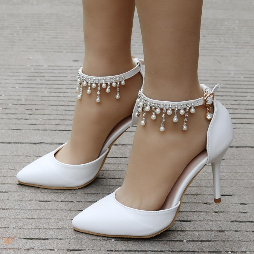 8cm Woman Fringed Shoes White High Heel Platform Ankle Satin sandals Women's Wedding Bridal Prom Dress Shoes