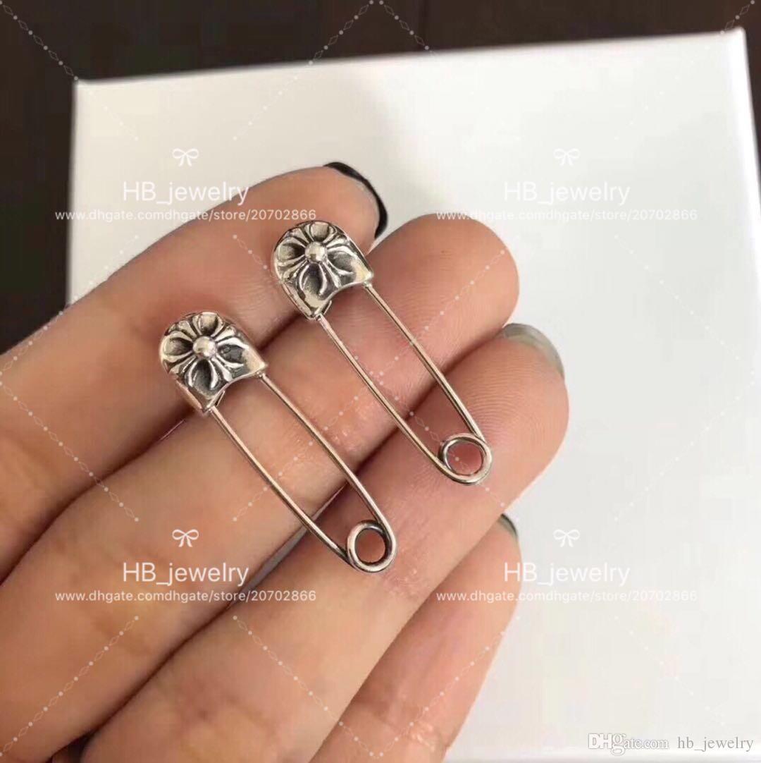 Marca de moda popular 925 STERLING SILVER Pin brincos / broches Dois usos para As Mulheres de Presente de Aniversário de Casamento Jóias de Luxo com caixa